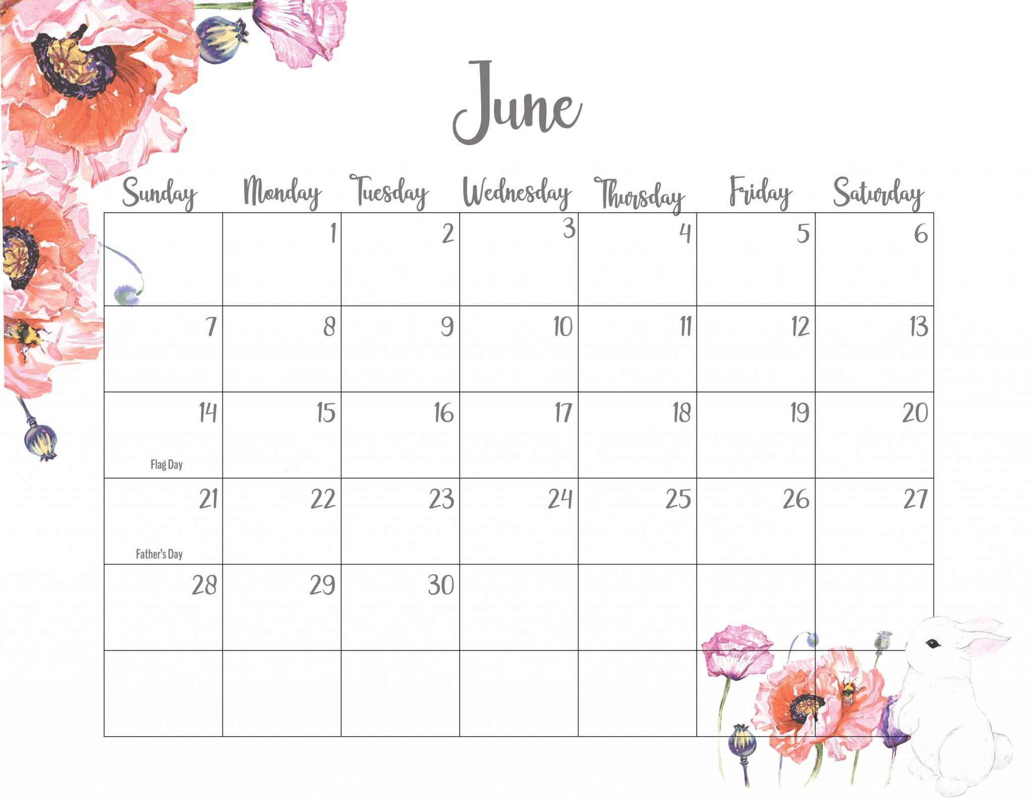 Cute June 2020 Floral Wall Calendar