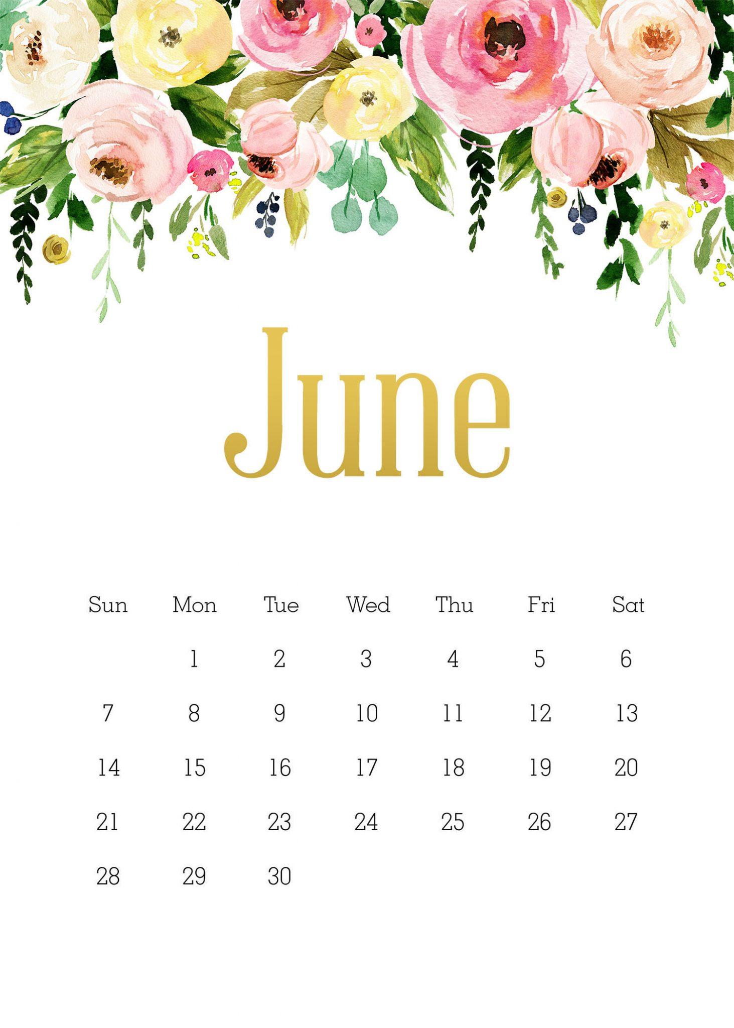 Cute June 2020 iPhone Calendar Wallpaper