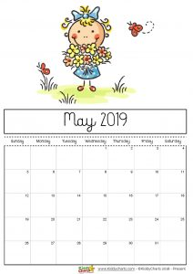 Cute May 2019 Calendar for Kids