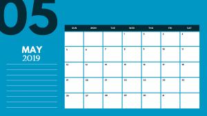 Cute May 2019 Desk Calendar Template