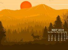 Cute May 2019 Desktop Calendar Wallpaper