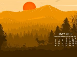 Cute May 2019 Desktop Calendar Wallpaper