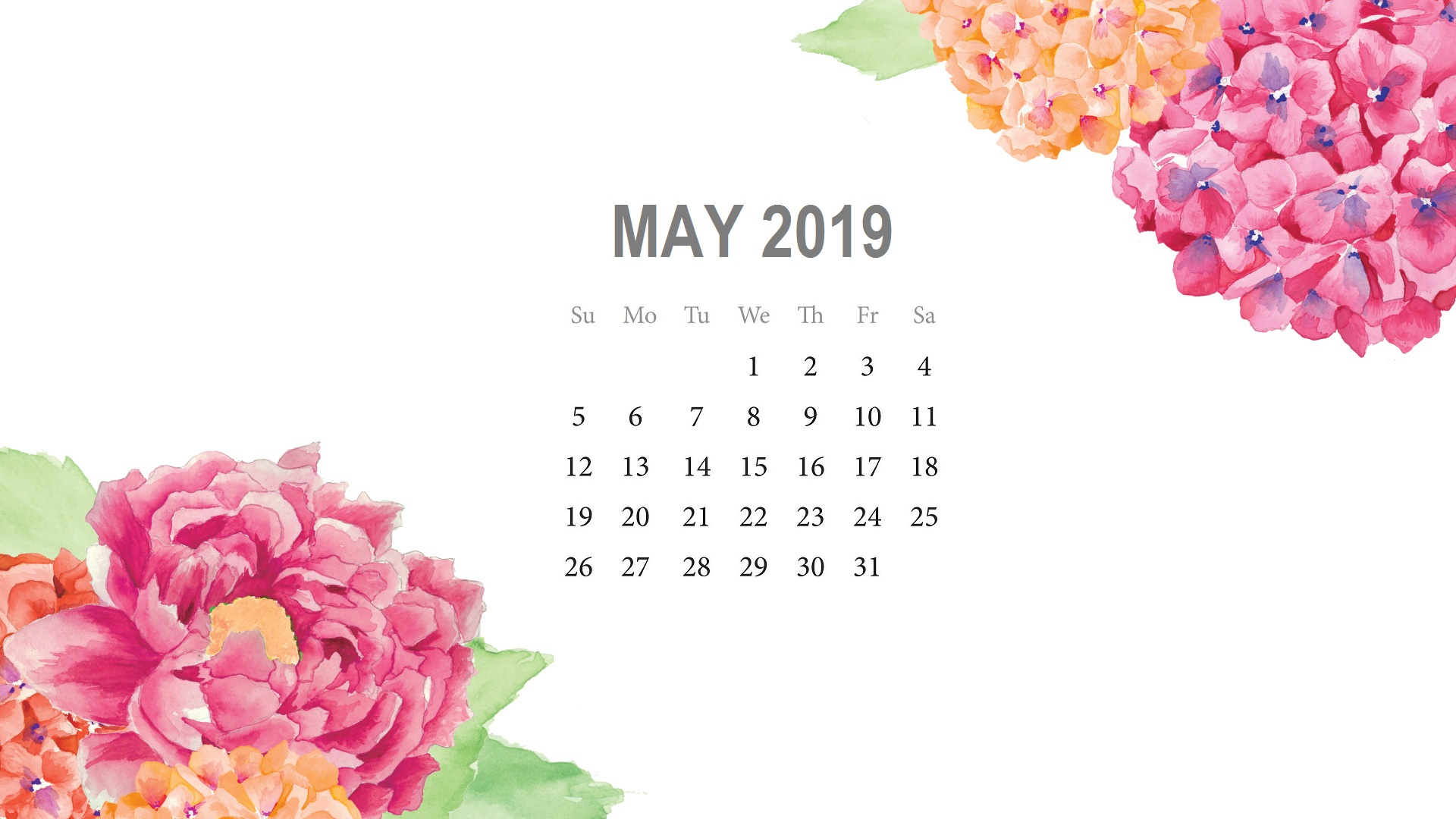 Cute May 2019 Watercolor Calendar