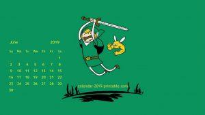Desktop Calendar For June 2019