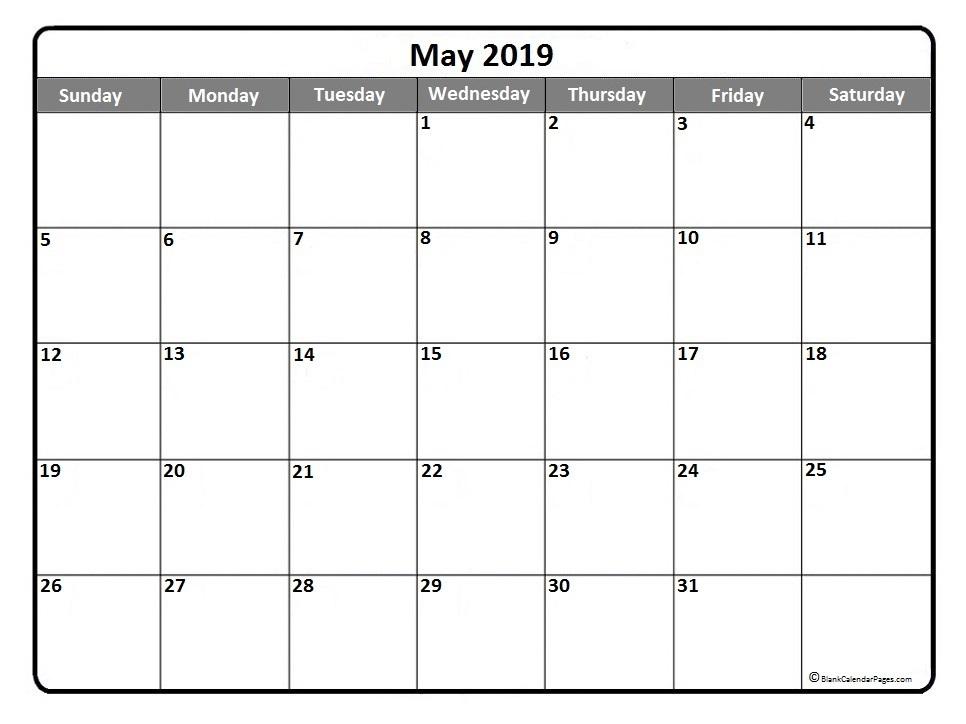 Editable 2019 May Calendar
