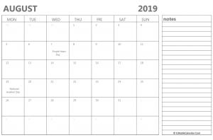 Editable August 2019 Calendar With Notes Free Printable Calendar