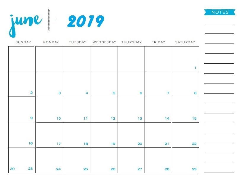 Editable June 2019 Calendar Template with Notes