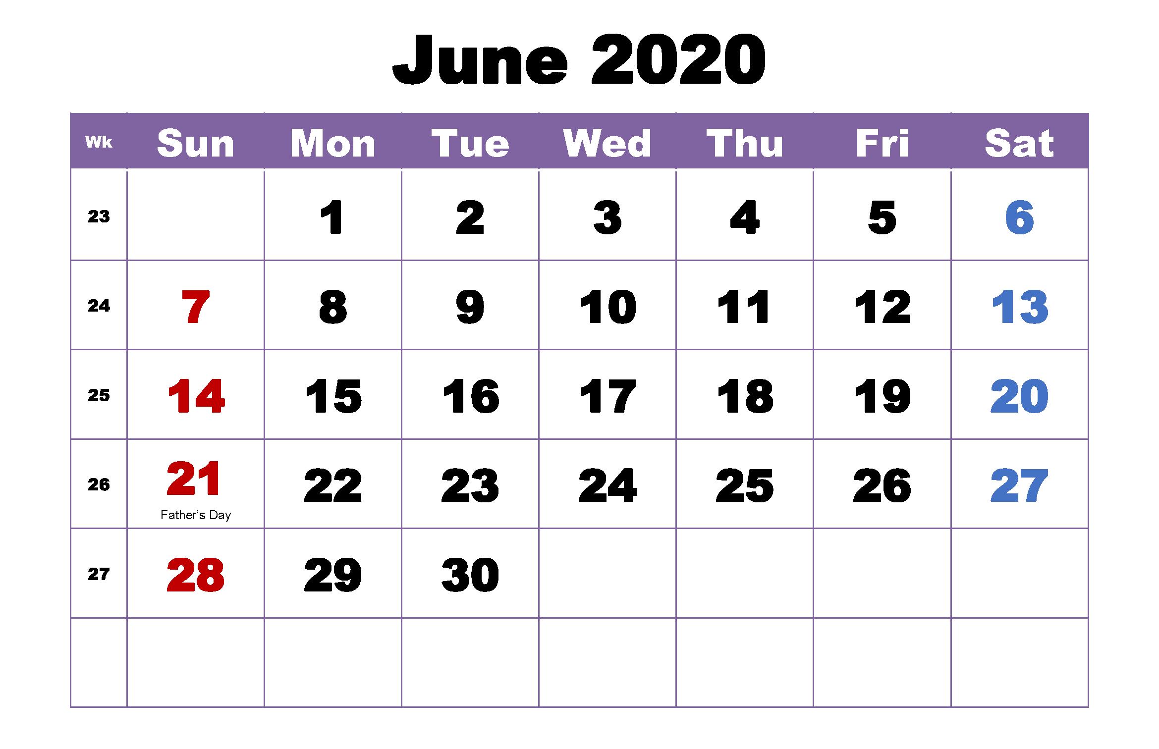 Editable June 2020 Calendar Printable