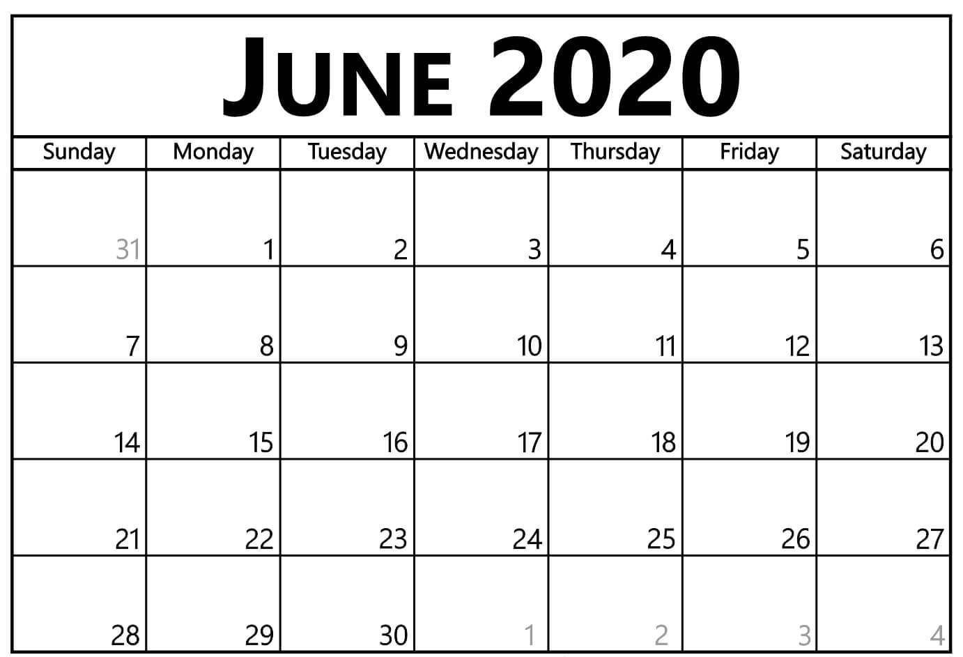 Editable June 2020 Calendar Template