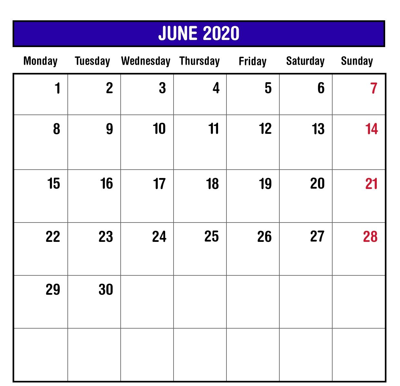 Editable June 2020 Printable Calendar PDF