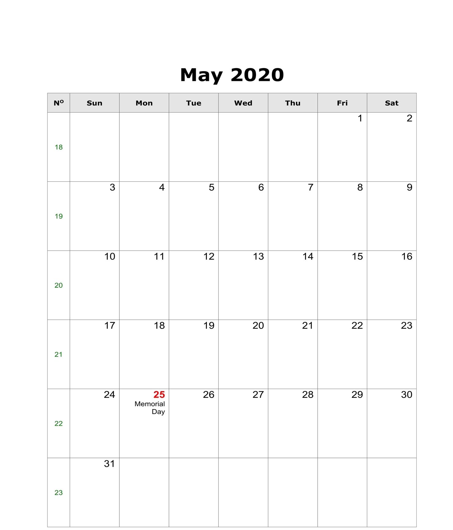 Editable May 2020 Calendar Templates