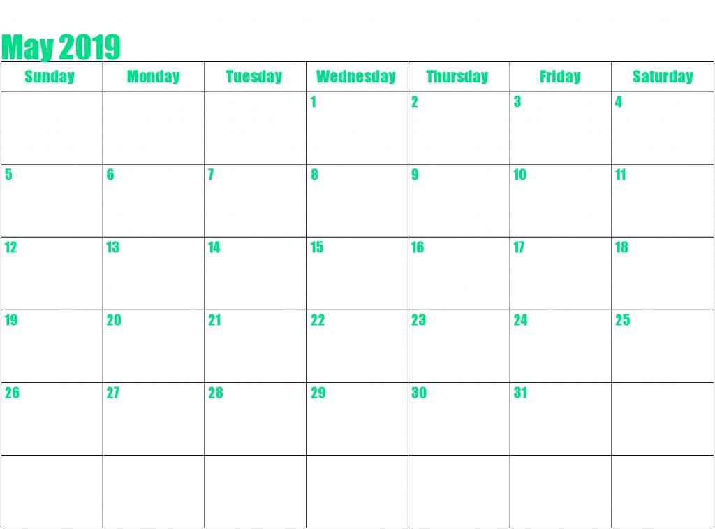 Editable May Blank Calendar 2019