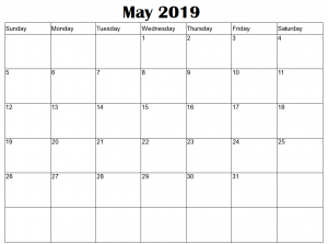 Editable May Calendar 2019