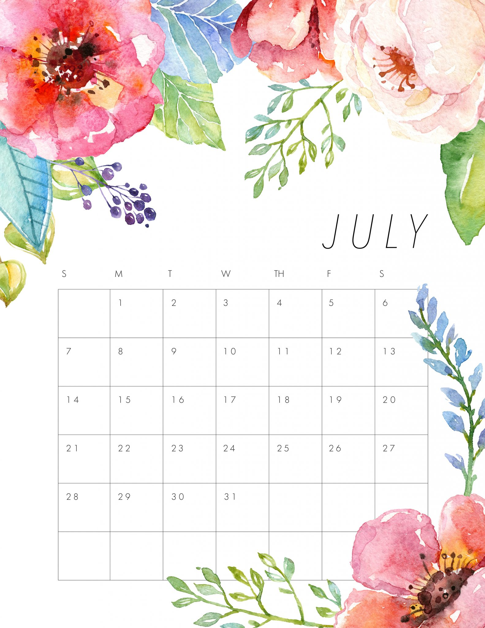 Floral July Calendar Printable Template
