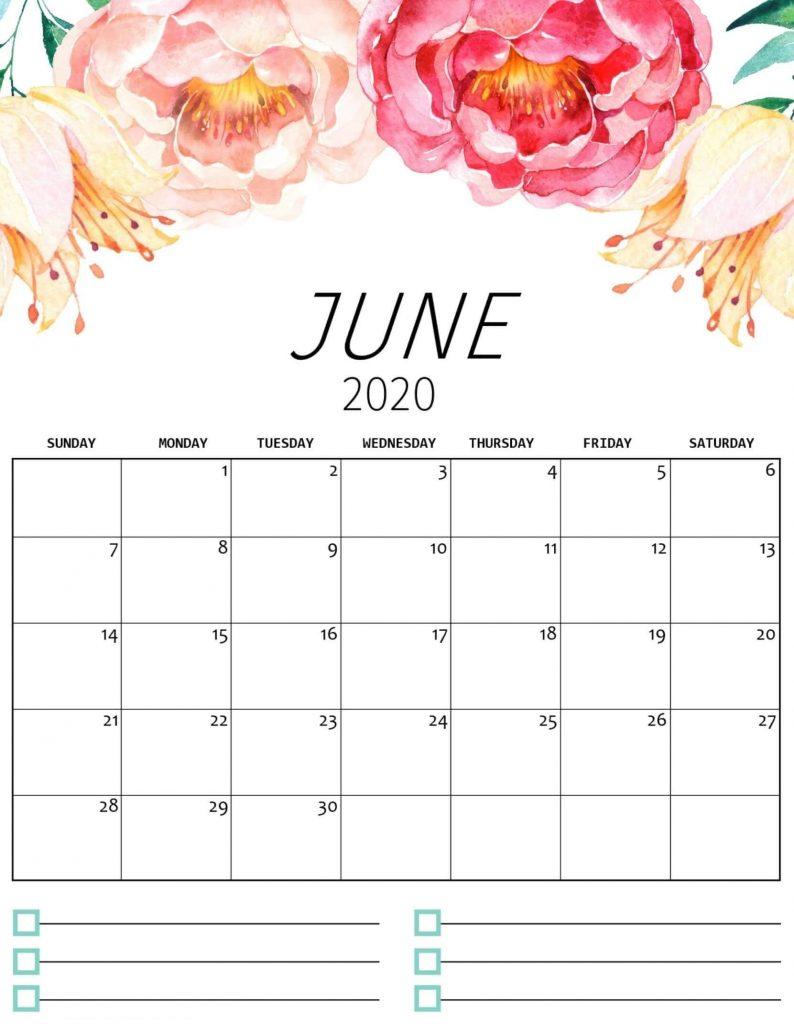 Floral June 2020 Calendar Template