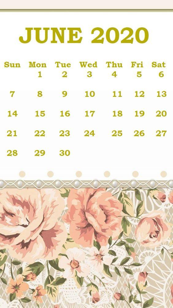 Floral June 2020 iPhone Calendar