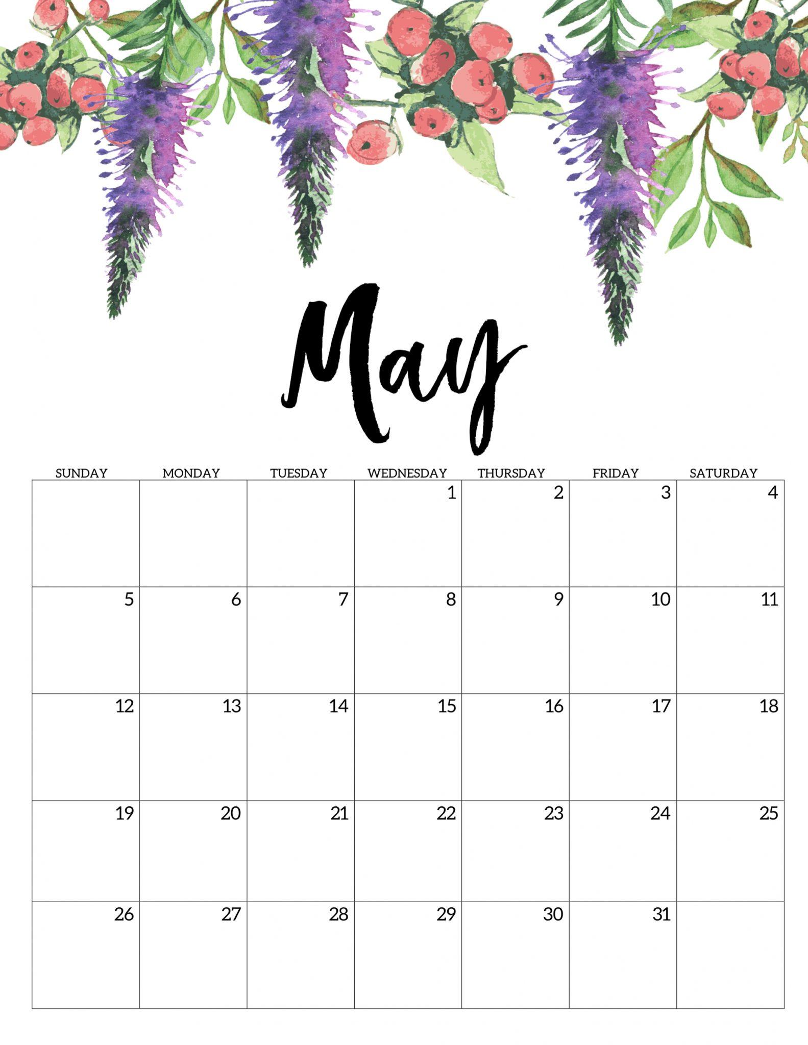 Floral May 2019 Cute Calendar
