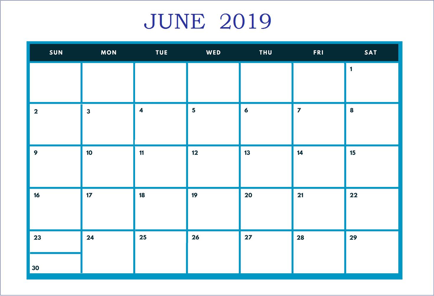 Free Calendar June 2019