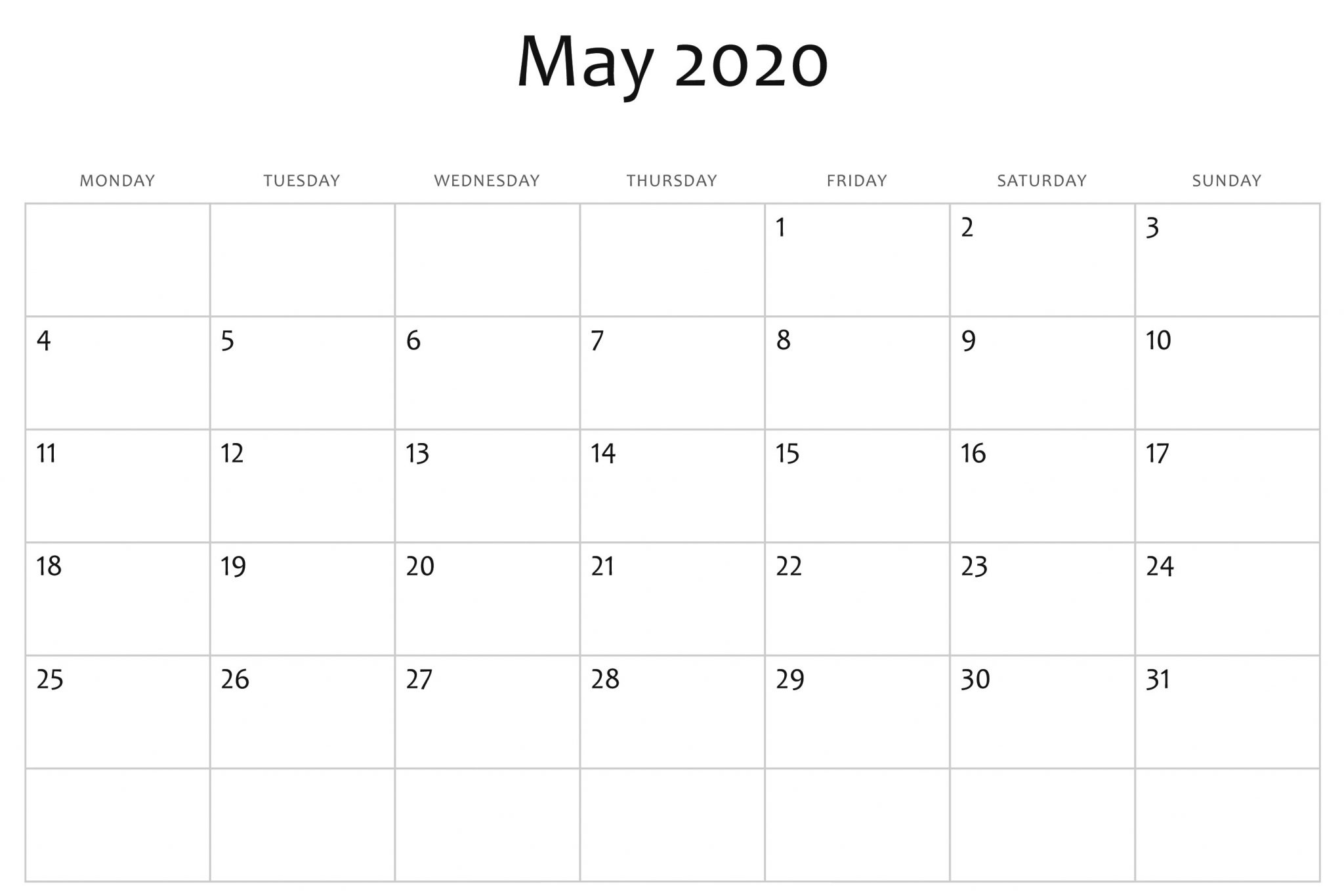Free Editable May 2020 Calendar