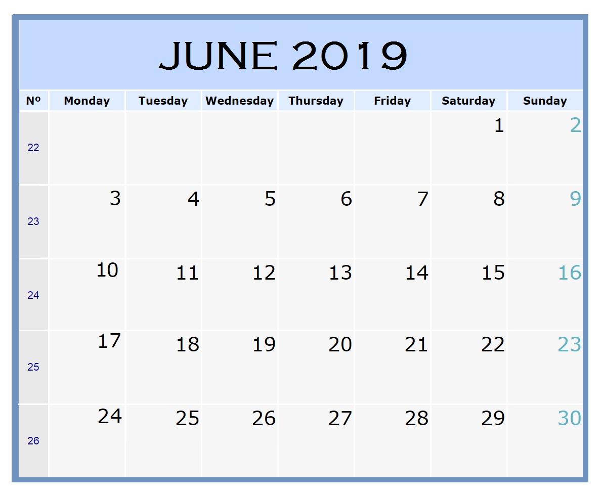 Free June 2019 Blank Calendar