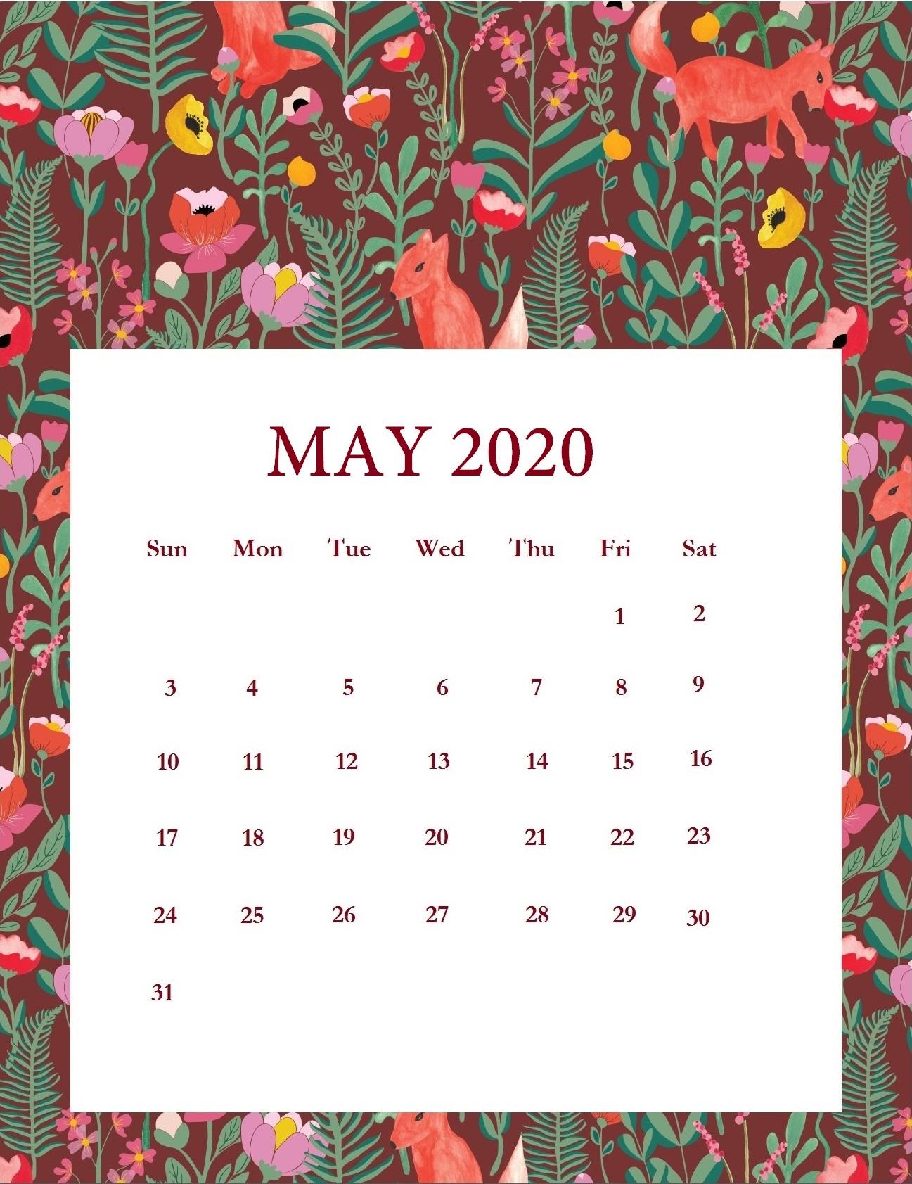 Free Printable May 2020 Calendar Cute