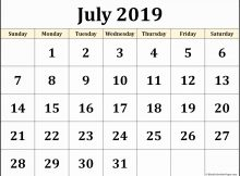 July 2019 Calendar PDF