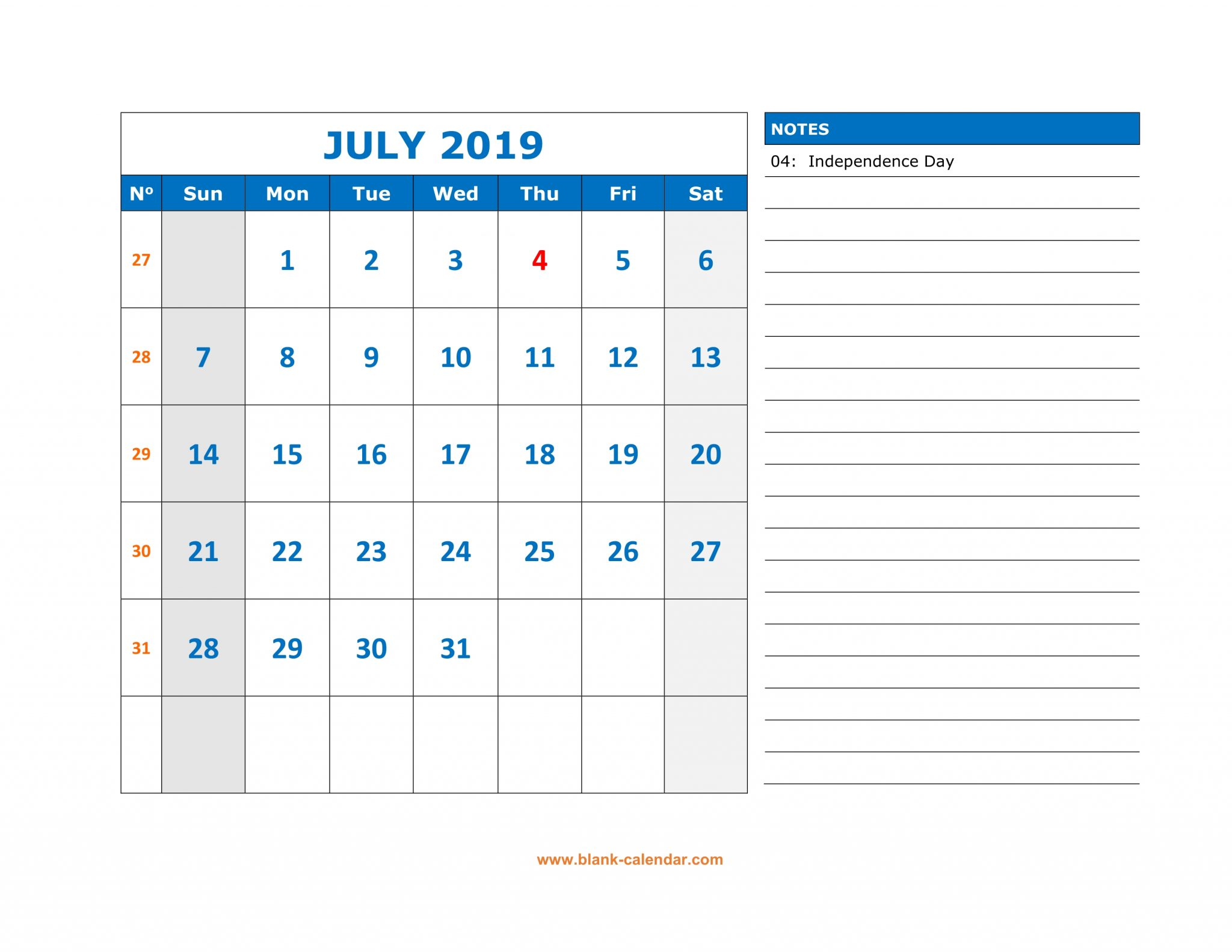 July 2019 Calendar With Notes