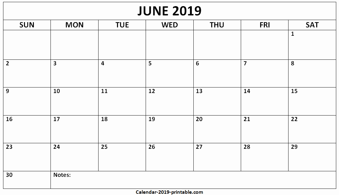 June 2019 Blank Template