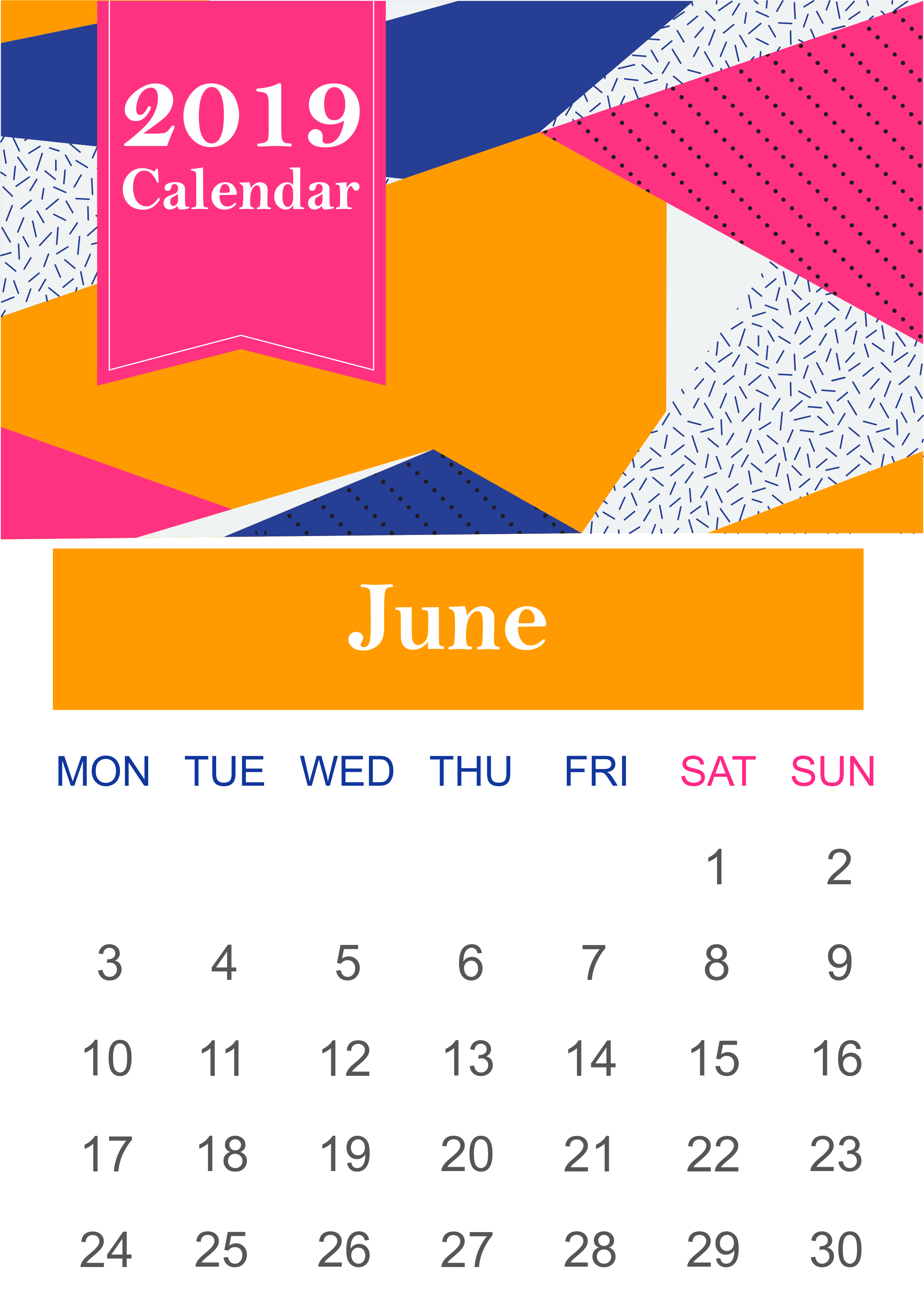 June 2019 Calendar Page