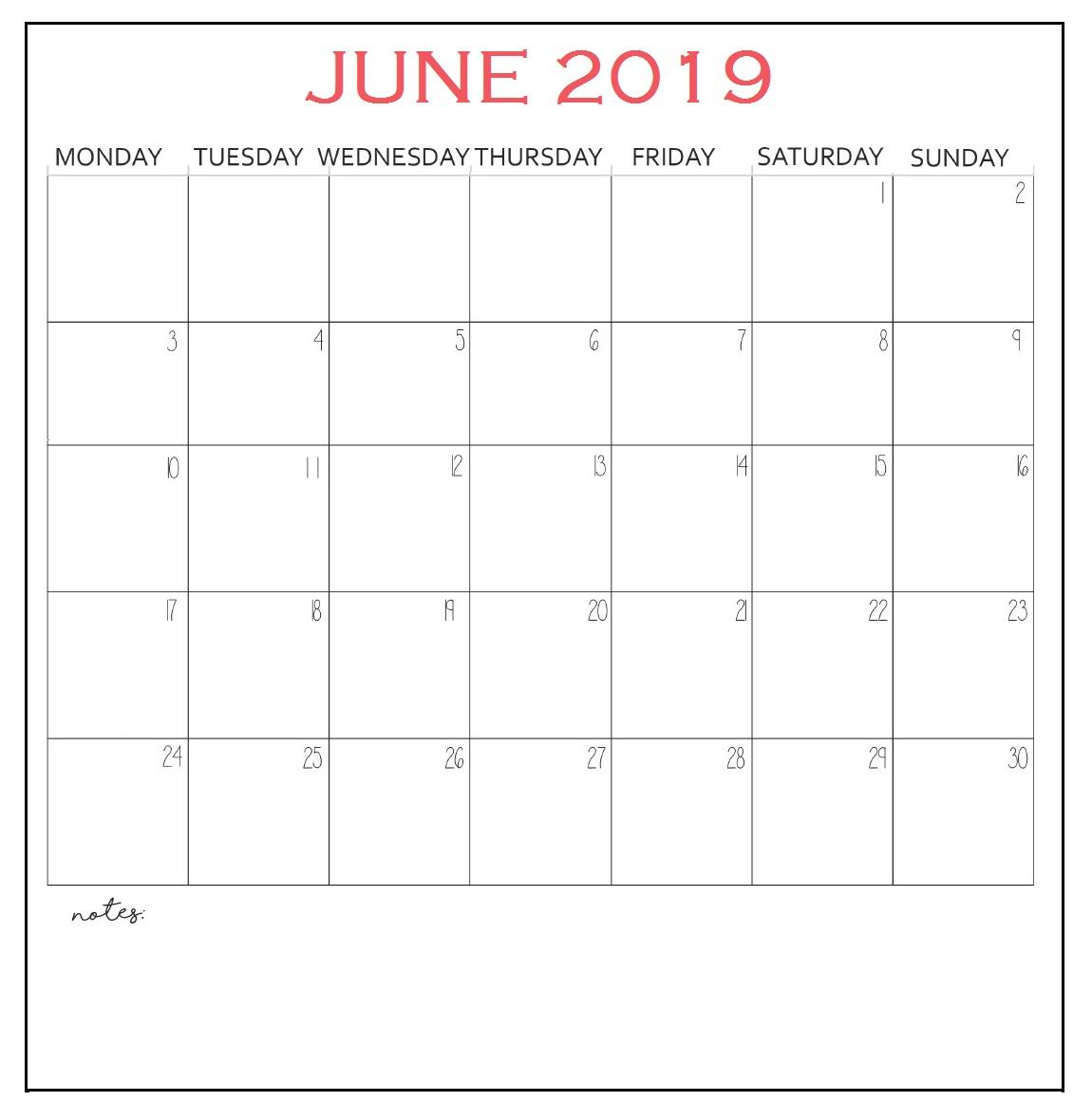June 2019 Calendar Template PDF