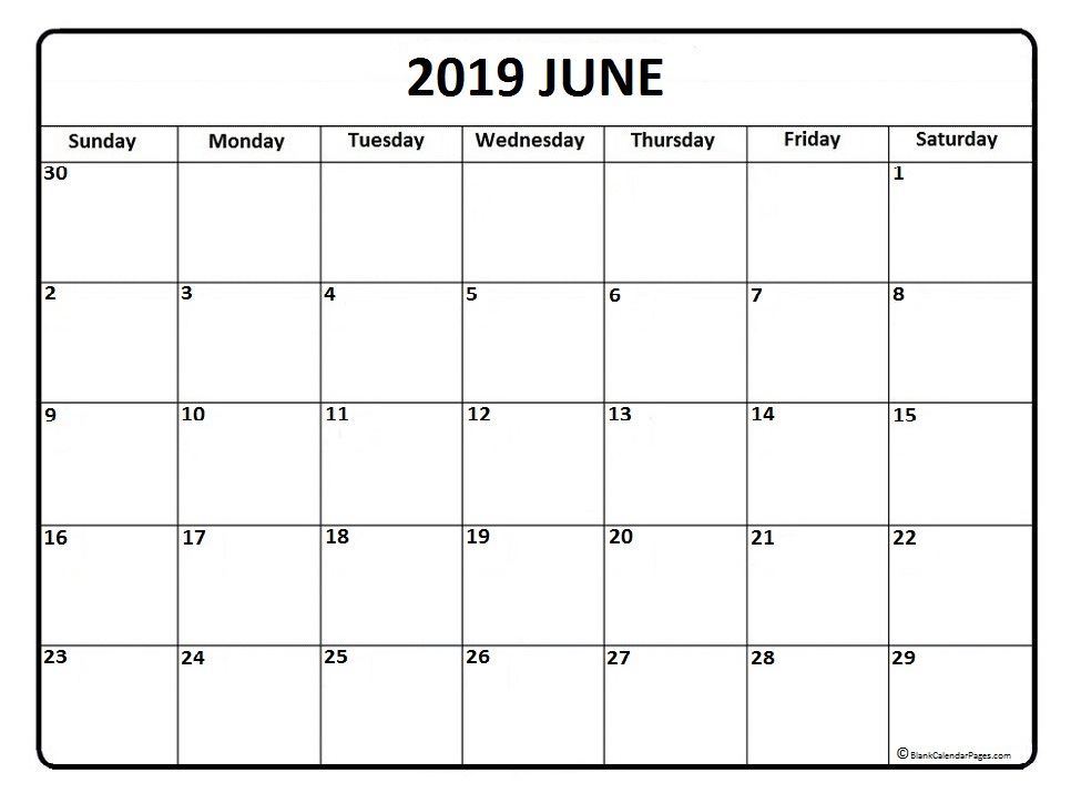 June 2019 Calendar Template