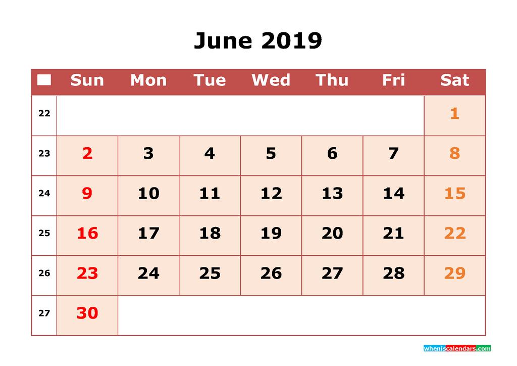 June 2019 Editable Calendar