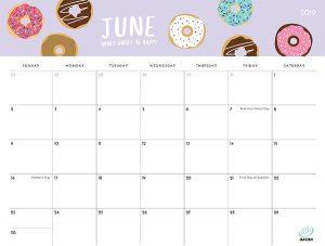 June 2019 Printable Calendar with Holidays