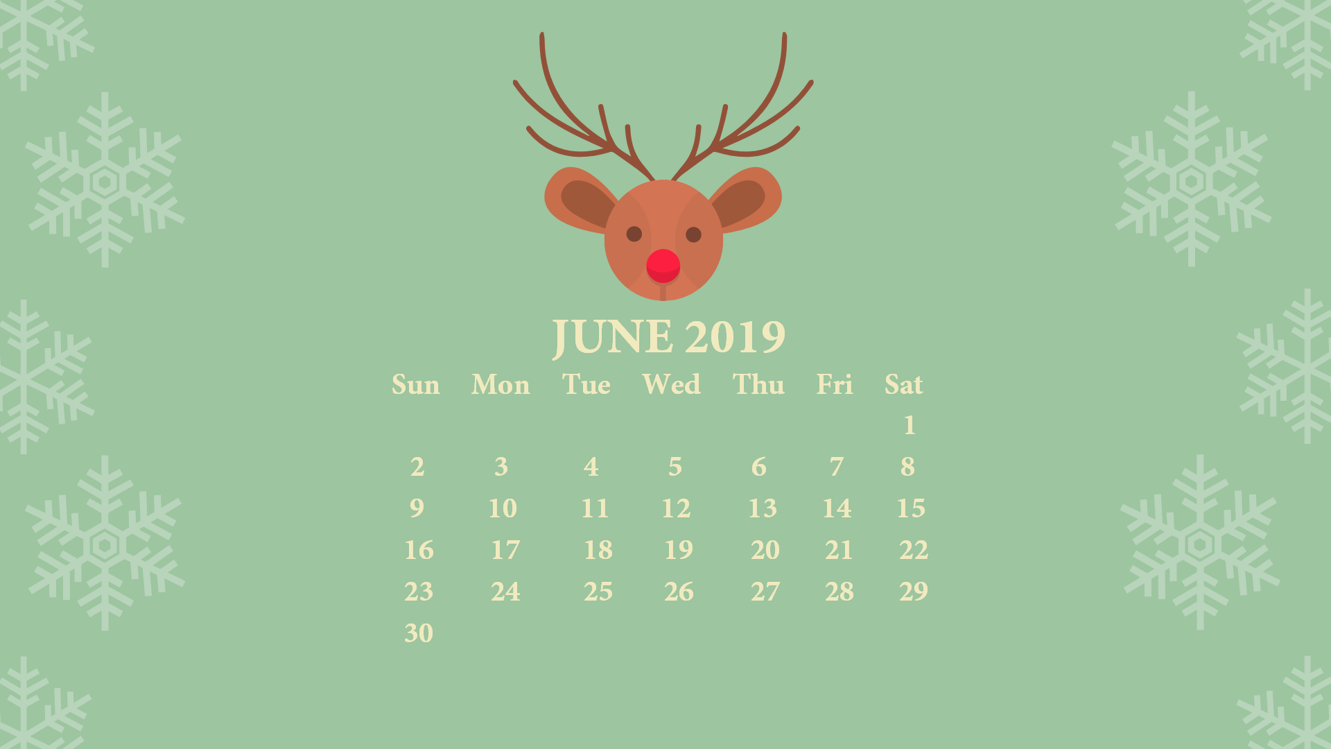 June 2019 Screensaver Background Calendar