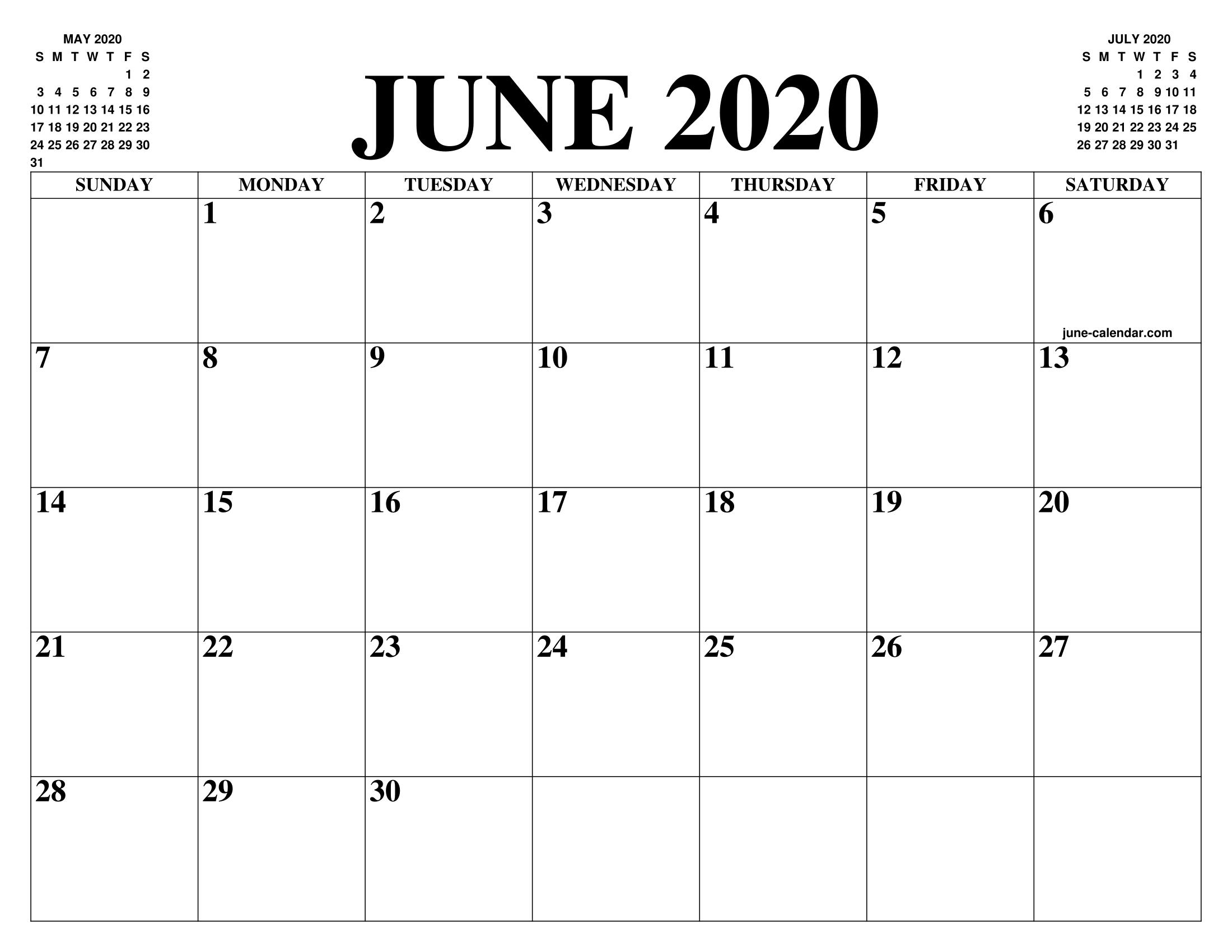June 2020 Calendar Blank Template