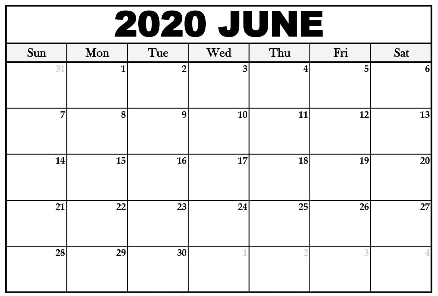 June 2020 Calendar Printable Template