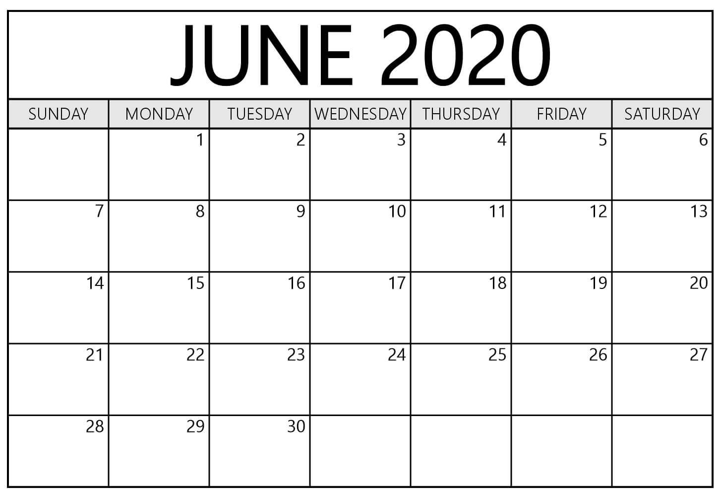 June 2020 Calendar Printable