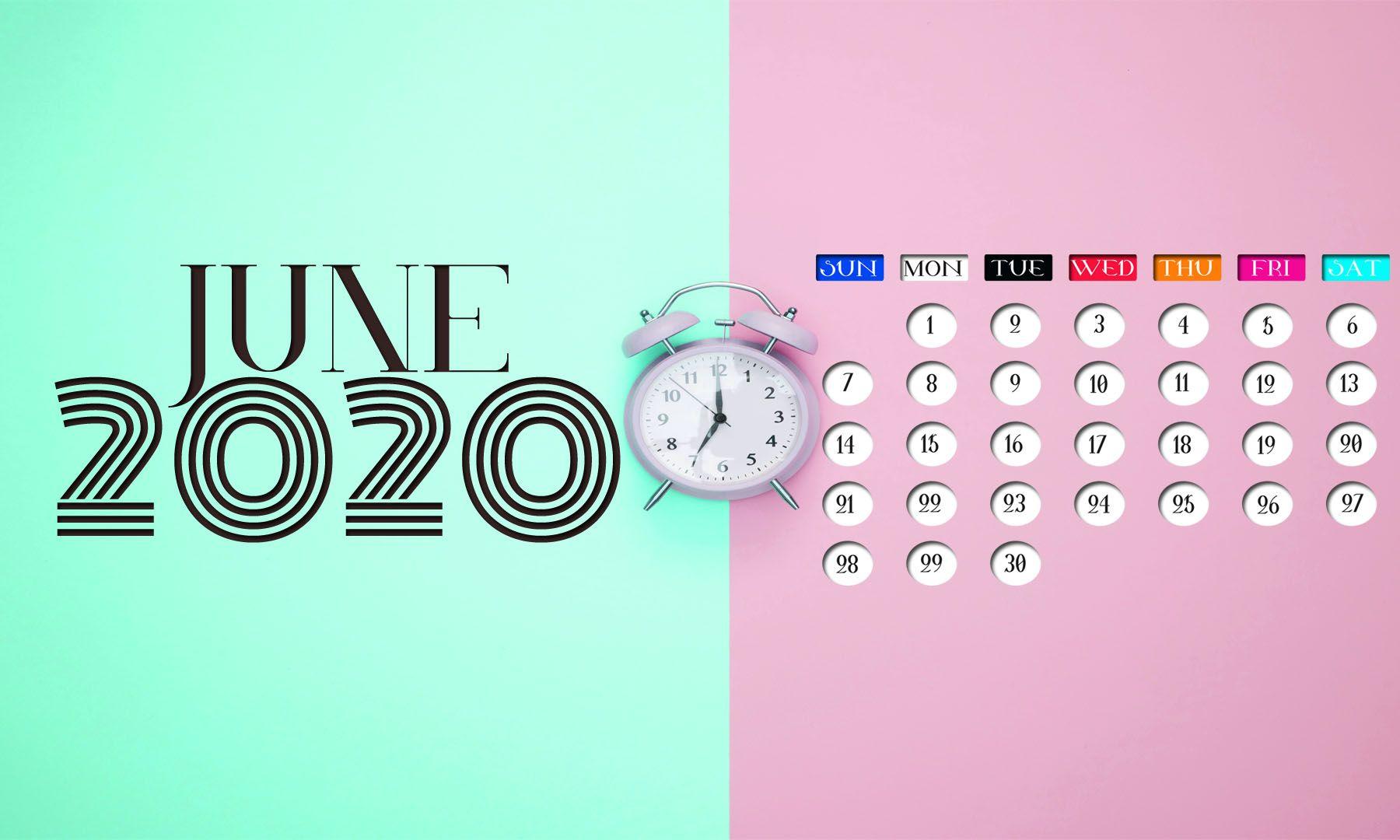 June 2020 Calendar Screensaver