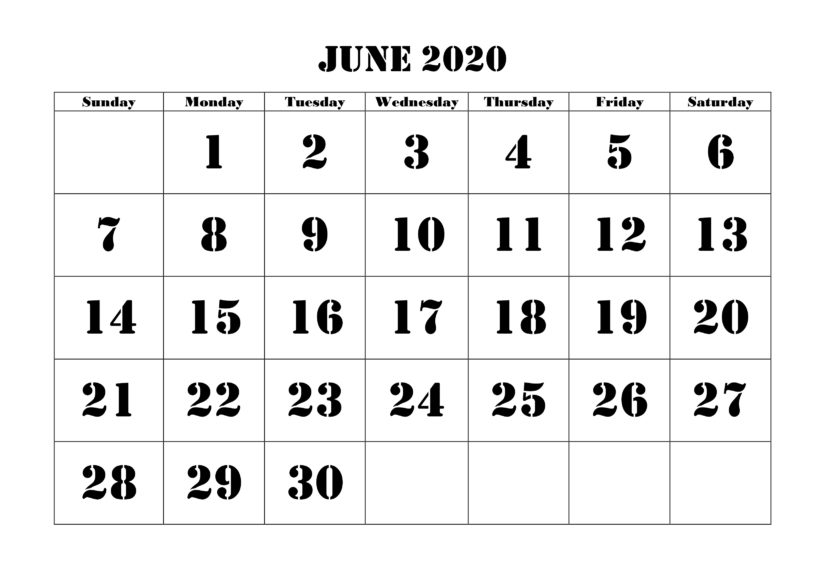 June 2020 Calendar Template Excel
