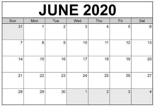 June 2020 Calendar Template PDF