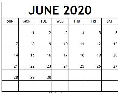 June 2020 Calendar Template Word