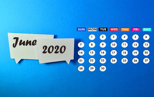 June 2020 Desktop Background Calendar