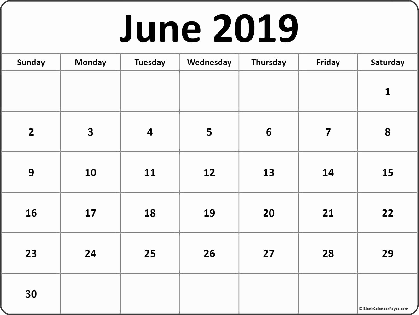 June Calendar 2019 Blank Template