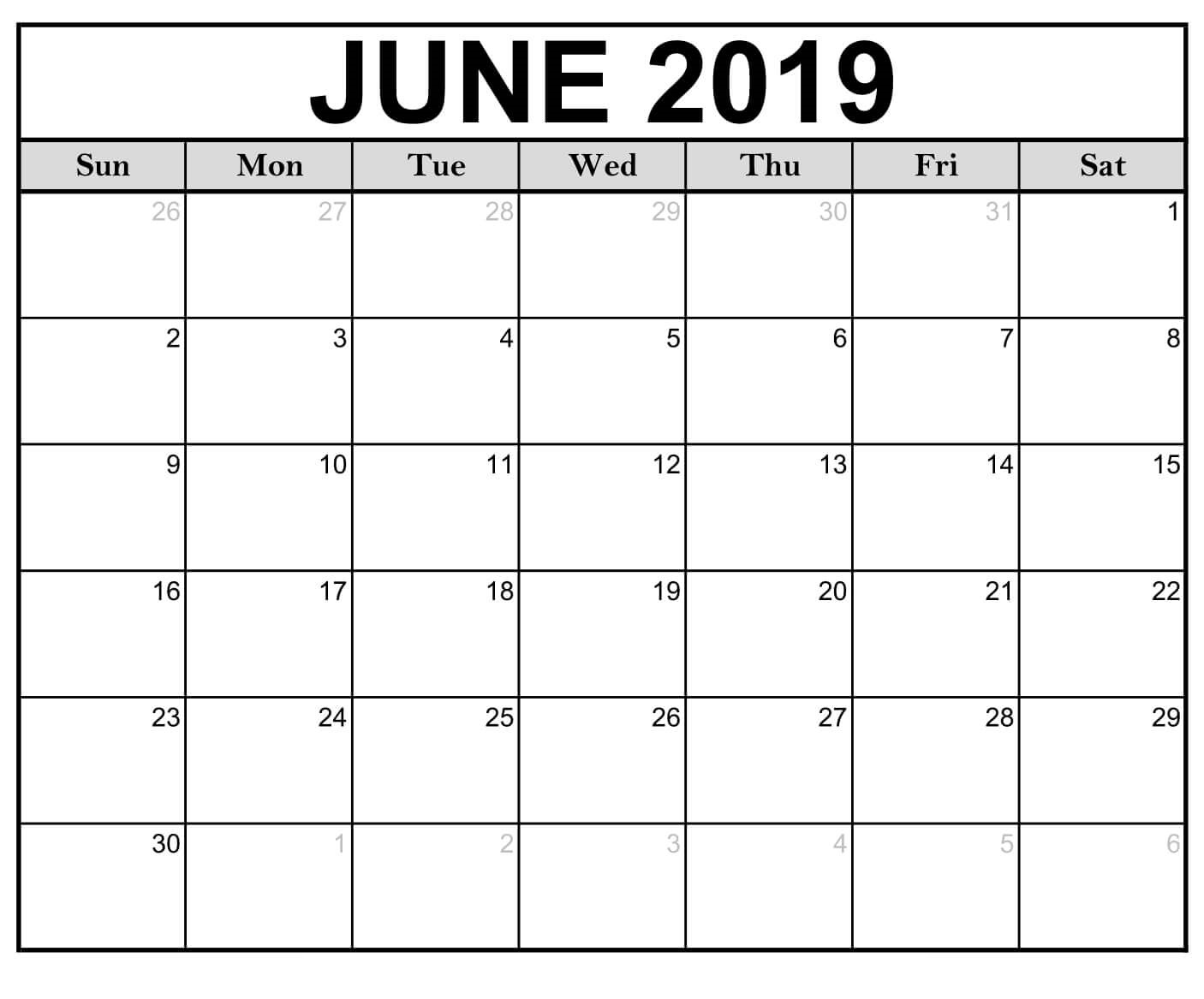 June Calendar Template 2019