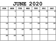 June Calendar Template 2020