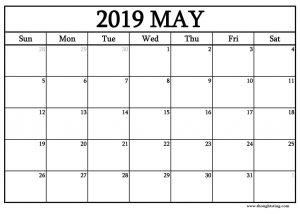 May 2019 Blank Calendar Free Editable