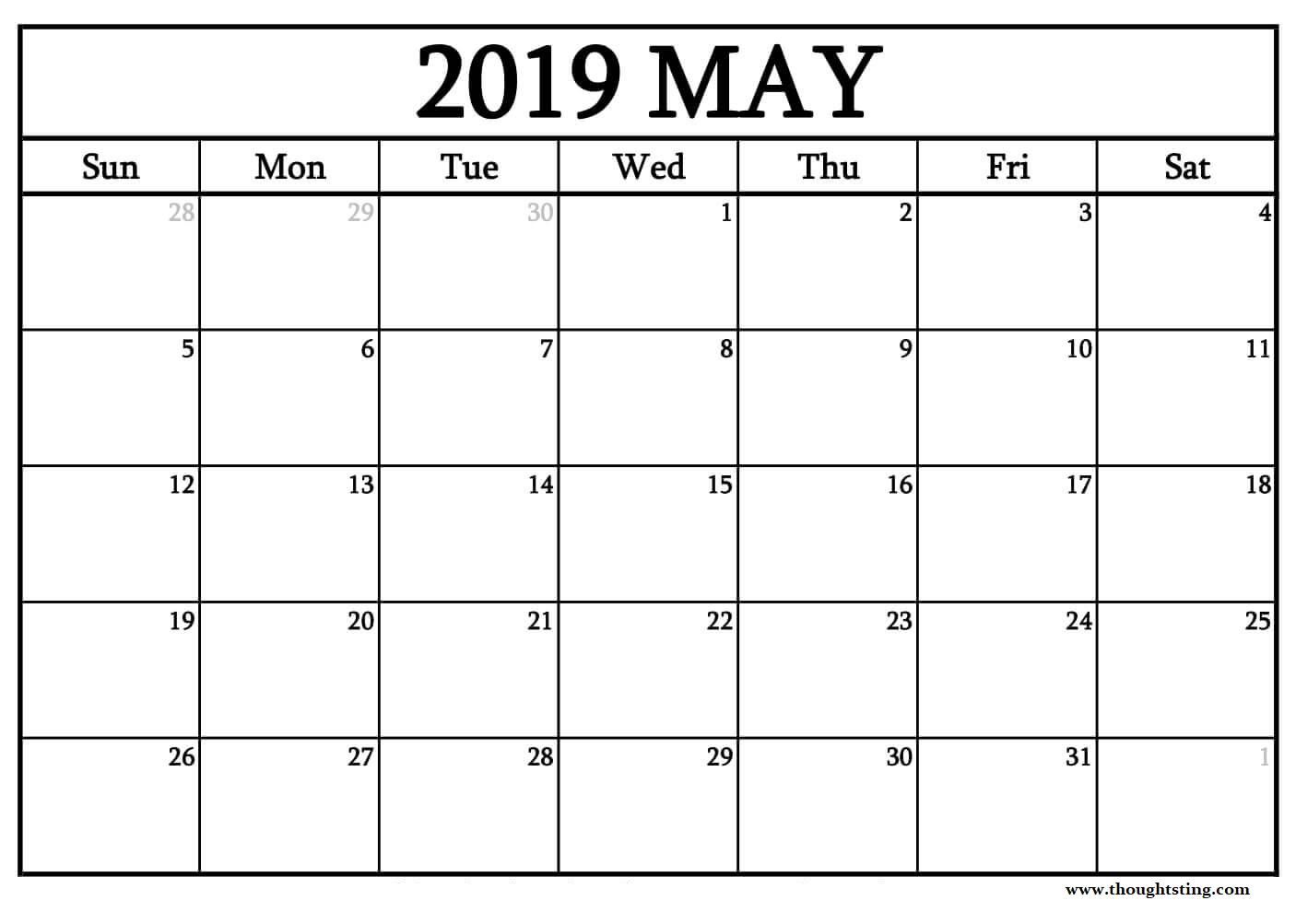 Editable May 2019 Calendar Printable Template With Holidays