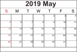May 2019 Blank Calendar Planner