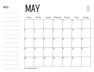 May 2019 Blank Calendar With Notes