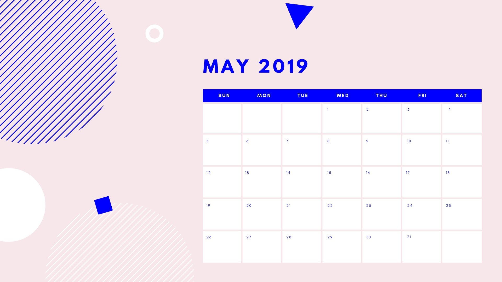 May 2019 Calendar Desktop Wallpaper